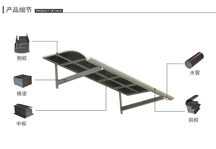PC板雨棚安裝方式配件詳細說明